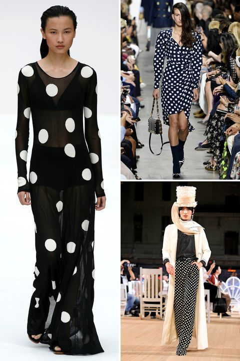 Fashion model, Fashion, Clothing, Polka dot, Runway, Pattern, Black-and-white, Haute couture, Dress, Design,