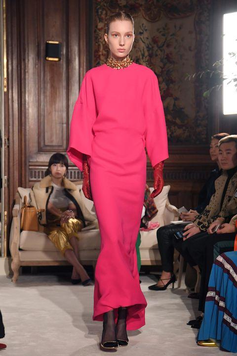 Fashion model, Fashion, Clothing, Fashion show, Runway, Haute couture, Pink, Fashion design, Dress, Event,