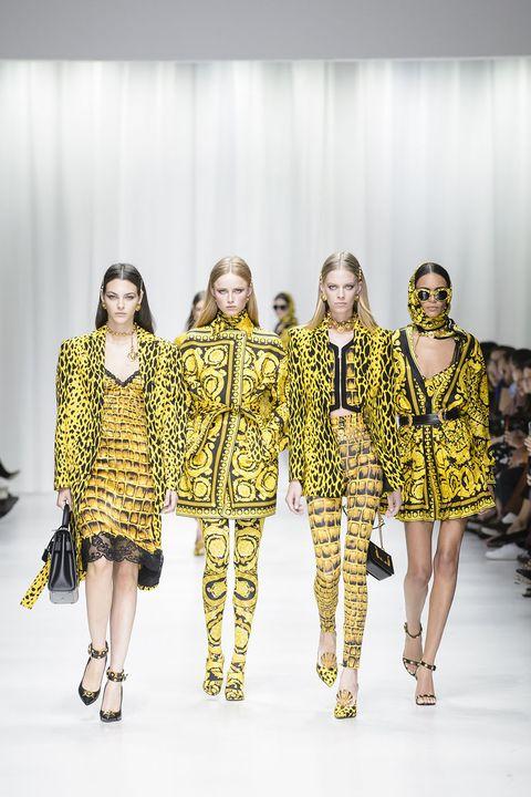 Fashion model, Fashion, Runway, Yellow, Fashion show, Fashion design, Event, Human, Shoulder, Haute couture,