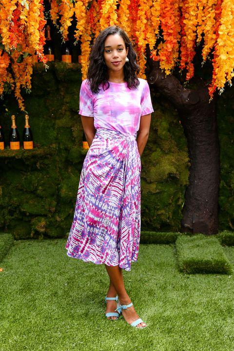 Clothing, Pink, Dress, Shoulder, Spring, Magenta, Waist, Day dress, Fashion, Footwear,