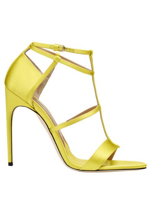 Footwear, Sandal, Yellow, High heels, Shoe, Strap, Court shoe, Basic pump,