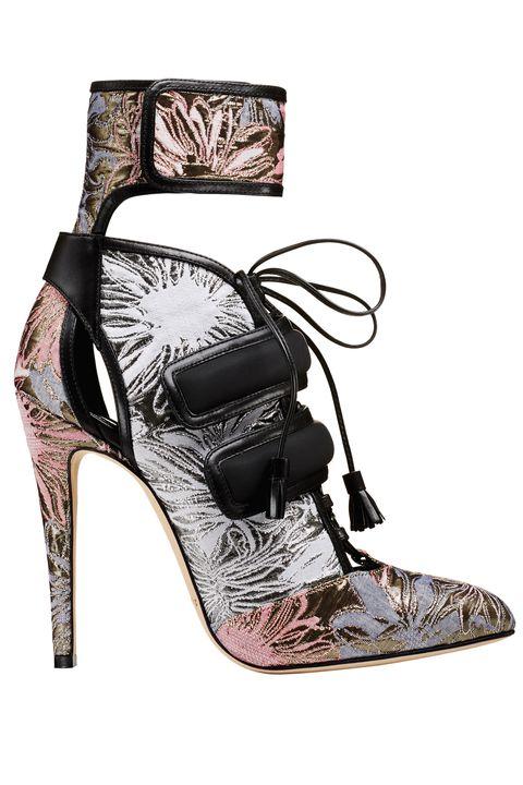 Footwear, High heels, Shoe, Sandal, Basic pump, Court shoe, Leg, Slingback, Beige, Strap,