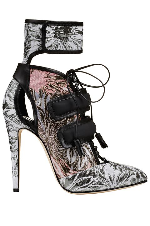 Footwear, High heels, Shoe, Sandal, Basic pump, Court shoe, Material property, Boot, Black-and-white, Strap,