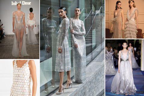 Dress, Clothing, Wedding dress, Fashion model, Gown, Fashion, Bridal clothing, Haute couture, Shoulder, Bride,