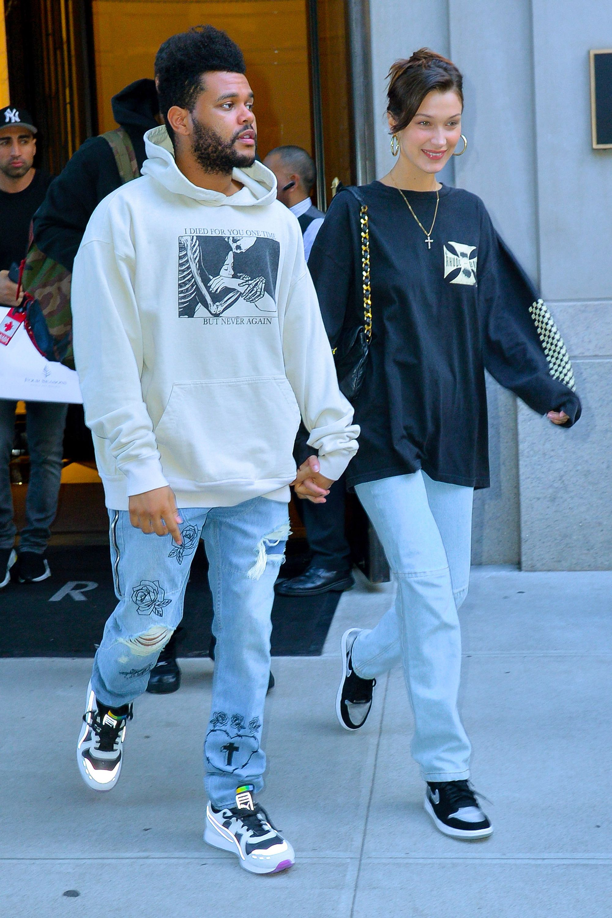 a9e72f4d7d7 Bella Hadid and The Weeknd Can t Stop Holding Hands in New York City