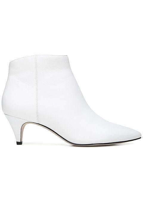 Footwear, White, Shoe, Boot, Beige, Leather, High heels,