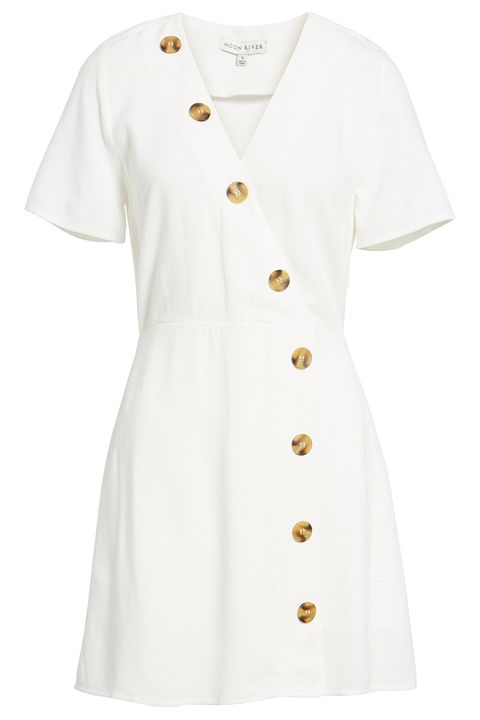 Clothing, White, Sleeve, Outerwear, Dress, Day dress, T-shirt, Button, Collar, Uniform,