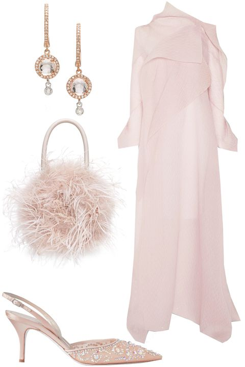 pink winter wedding guest outfit ideas