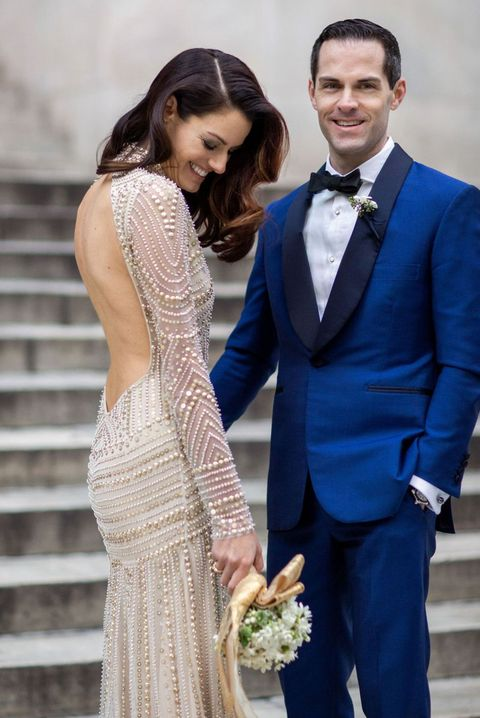 Photograph, Suit, Blue, Formal wear, Yellow, Dress, Snapshot, Ceremony, Event, Bride,