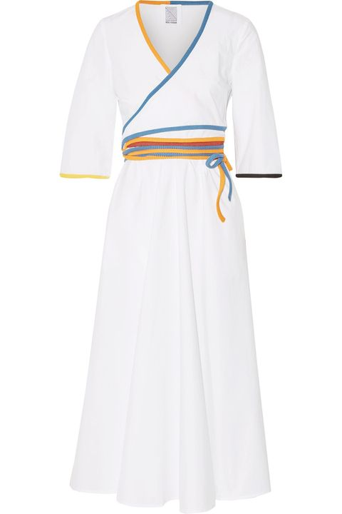 Clothing, White, Dress, Sleeve, Day dress, Yellow, Robe, Neck, Gown, Uniform,