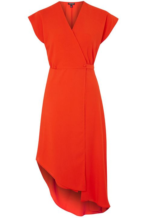 Clothing, Dress, Day dress, Red, Orange, Cocktail dress, Sleeve, Formal wear, Neck, Sheath dress,