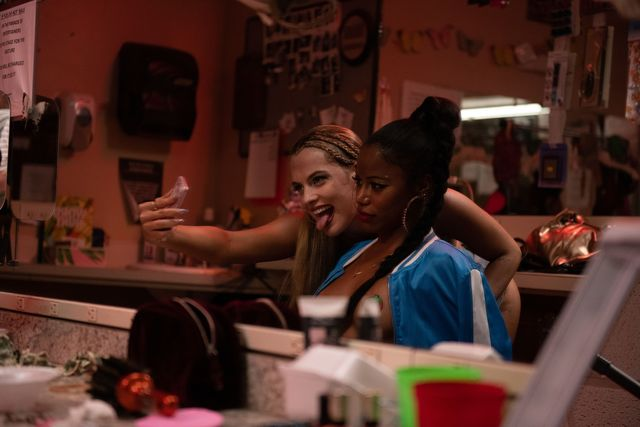 """riley keough left stars as """"stefani"""" and taylour paige right stars as """"zola"""" in director janicza bravo's zola, an a24 films release cr anna kooris  a24 films"""