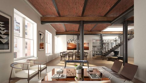 Living room, Room, Interior design, Ceiling, Building, Property, Furniture, House, Loft, Architecture,