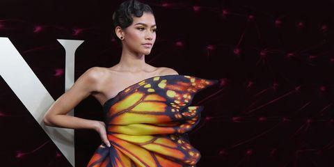 Clothing, Fashion model, Fashion, Beauty, Dress, Shoulder, Fashion design, Model, Formal wear, Haute couture,