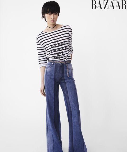 Clothing, Jeans, Waist, Shoulder, Denim, Neck, Sleeve, Leg, Standing, Joint,