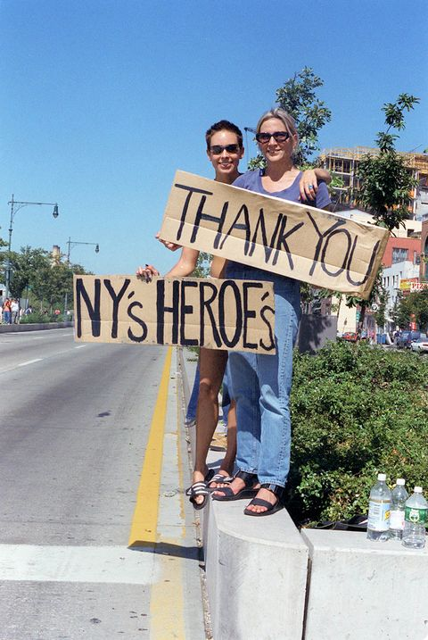 brooke bennett and kim dempster supporting fireman, police and american servicemen, following the september 11th attacks on the world trade center, in new york, sept 2001published in nyt 091601 sunday styles section