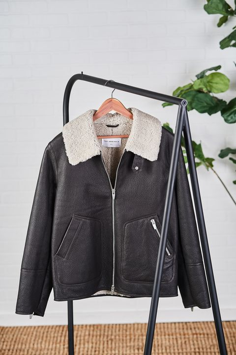 Clothes hanger, Clothing, Outerwear, Jacket, Product, Fur, Leather, Sleeve, Leather jacket, Textile,