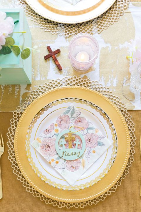 easter place setting with religious name card