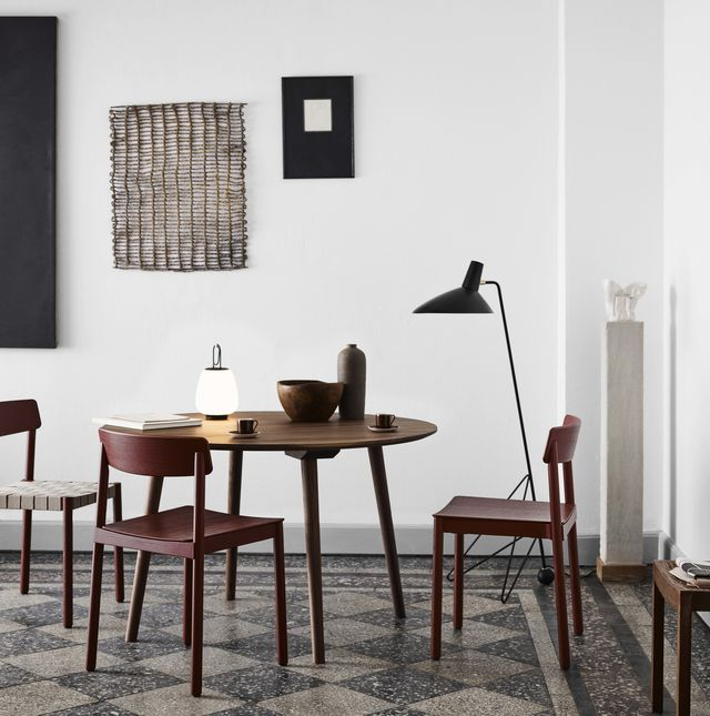 Furniture, Room, Chair, Table, Interior design, Wall, Black-and-white, Design, House, Material property,