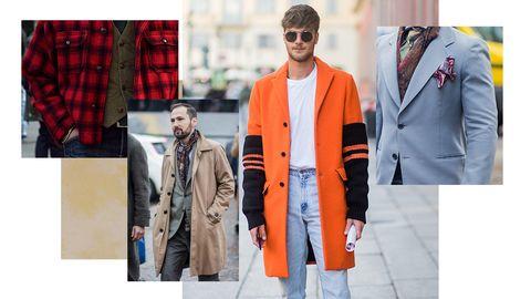 Clothing, Street fashion, Fashion, Orange, Outerwear, Overcoat, Coat, Jacket, Suit, Blazer,