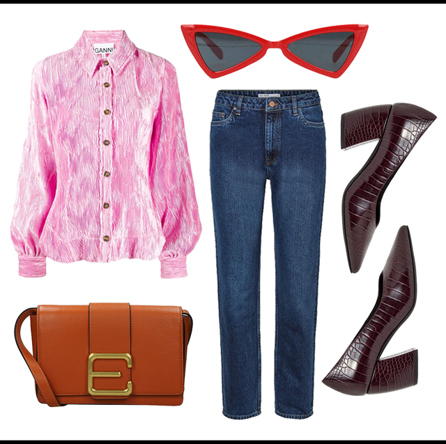 Denim, Jeans, Clothing, Pink, Textile, Fashion, Footwear, Font, Fashion design, Trousers,