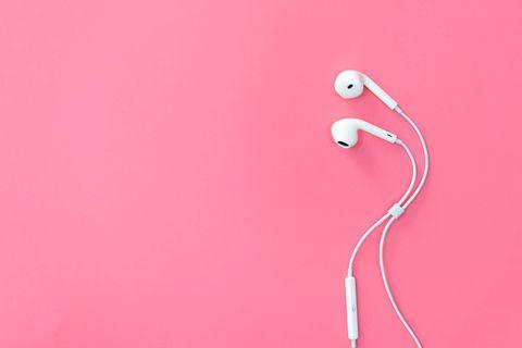 headphones on pink backgrounds.