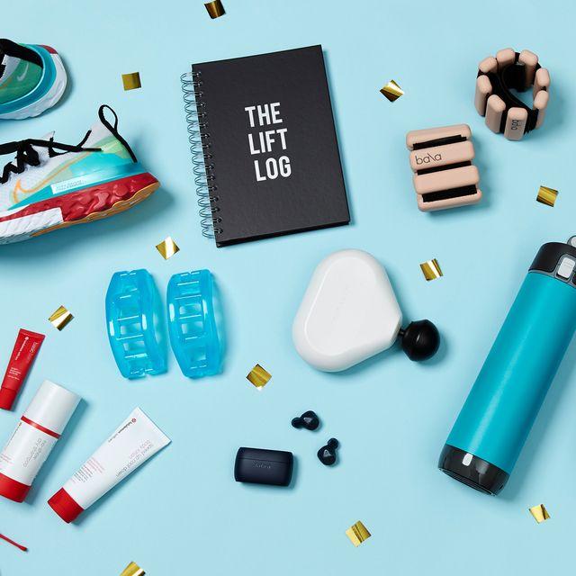 nike shoes, lift log, bala bangles, hypersphere mini, sanabul boxing gloves, hidratespark watter bottle, theragun mini, jabra earbuds, yoga toes, lululemon sweat kit