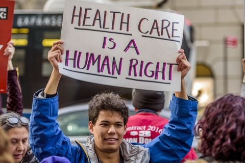 Outside Trump Tower in New York, health care justice