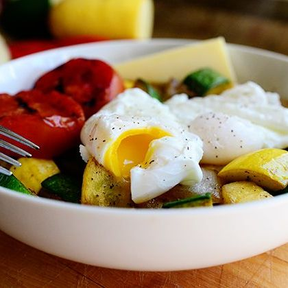 poached eggs and veggie bowl