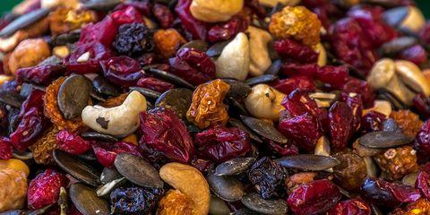 nuts dried fruit dark chocolate unhealthy diet foods
