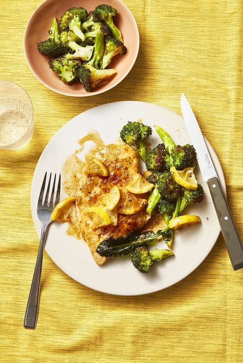 Pan-Fried Chicken With Lemony Roasted Broccoli - Valentine's Day Dinner Ideas