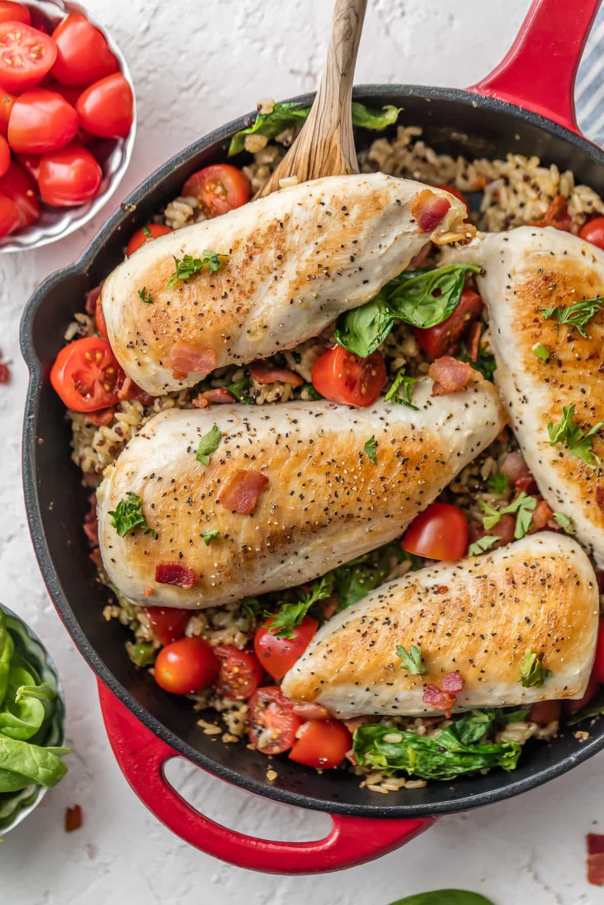 25 Easy Healthy Dinner Recipes - BLT Chicken and Rice Skillet