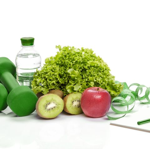 healthy eating, diet and  detox  dumbbells, kiwi  water