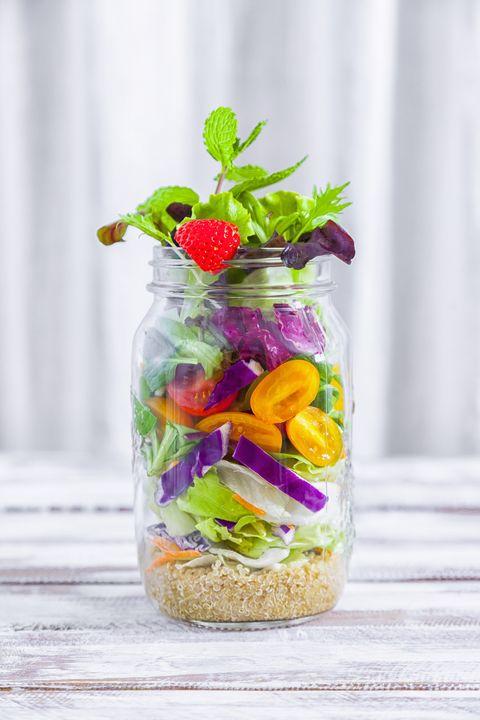 Healthy homemade Mason Jar salad with Quinoa and veggies