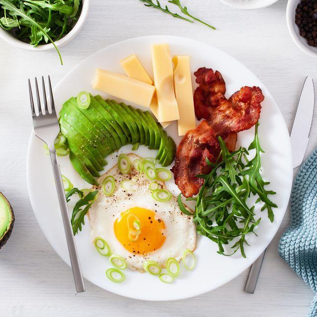 healthy keto breakfast egg, avocado, cheese, bacon