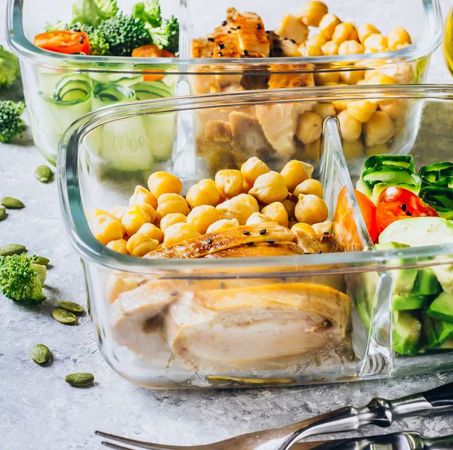 healthy meal prep containers chicken and fresh vegetables