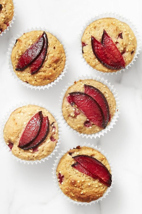 spiced plum and quinoa muffins