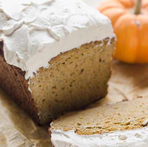 healthier pumpkin bread with pumpkin in back