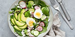 Healthy salad bowl table top view