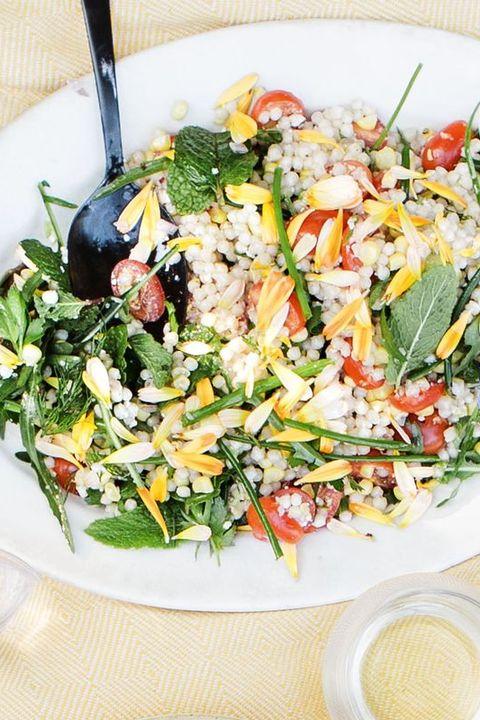 healthy salads fresh corn tomato herb and israeli couscous salad