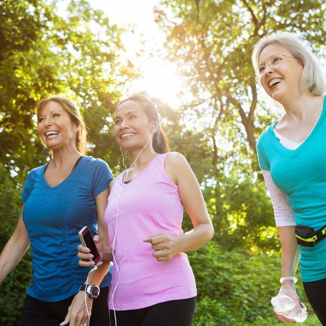 healthy senior women exercise in park