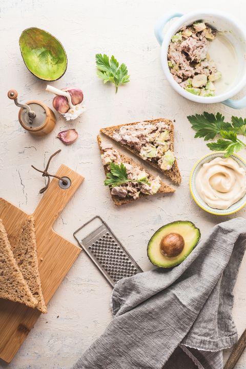 healthy snack sandwiches with tuna avocado spread
