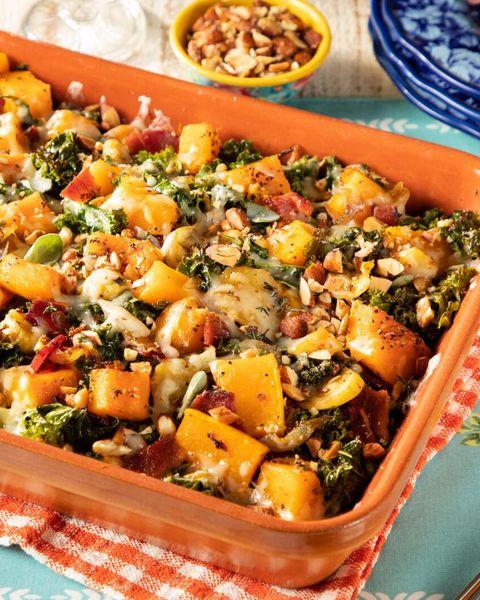 butternut squash casserole in orange casserole dish