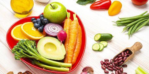 healthy vegan food on white table