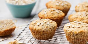 Healthy vegan oat muffins, apple, banana cakes on cooling rack