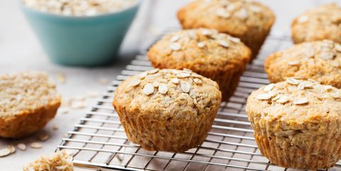 Healthy vegan oat muffins, apple, banana cakes on cooling rack
