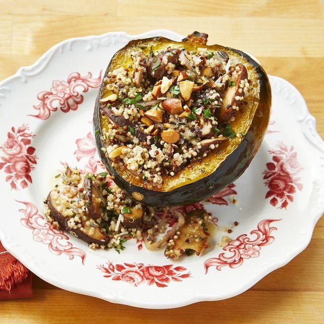 healthy winter recipes quinoa and mushroom stuffed acorn squash