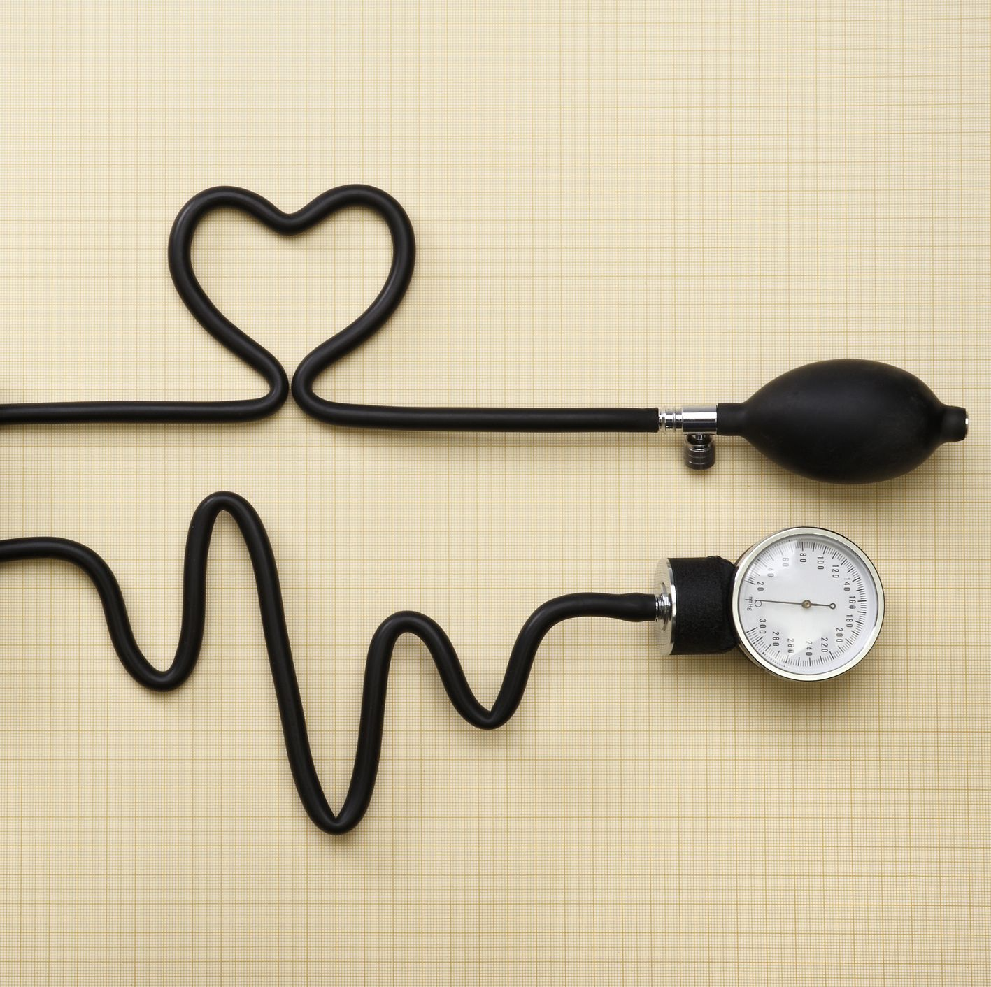 A heart and heartbeat done with a sphygmomanometer