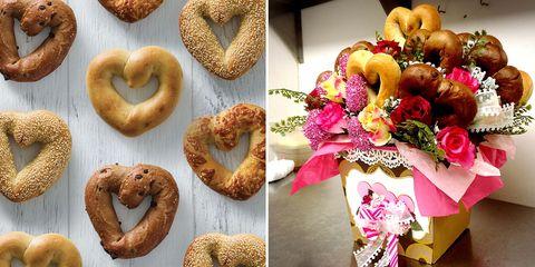Food, Cuisine, Simit, Bagel, Dish, Baked goods, Heart, Bread, Pretzel, Snack,