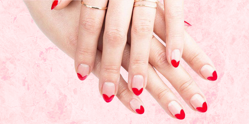 This Is the Only V-Day Nail Art Tutorial You Need to See - Valentine's Day Nail Art Heart Manicure - Red Heart Nail Art Tutorial